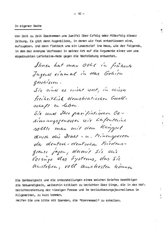 """Die letzte Seite der letzten """"Brennessel"""". Schade, dass KLaus Adamek nicht weitergemacht hat. (scan: zoom)"""