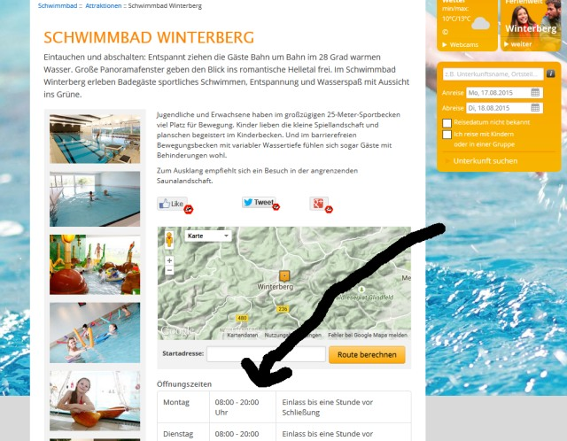 Screenshot der Winterberger Website von heute Abend: bis 20 Uhr geöffnet.