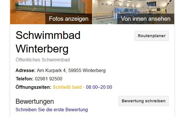 Selbst die prominenete Anzeige bei Google sagte mir: 20 Uhr alles paletti.