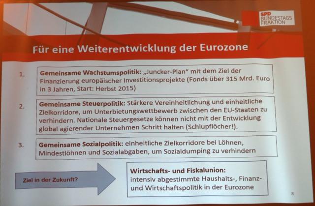 Der Abend war insgesamt ein Plädoyer für die Weiterentwicklung der Eurozone.