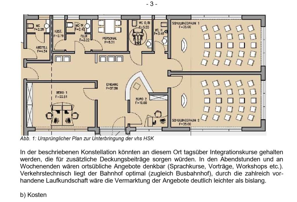 Diese ursprüngliche Planung mit zwei Räumen für die vhs ist inzwischen reduziert worden. (sccreenshot: Vorlage SchulA 9/354)
