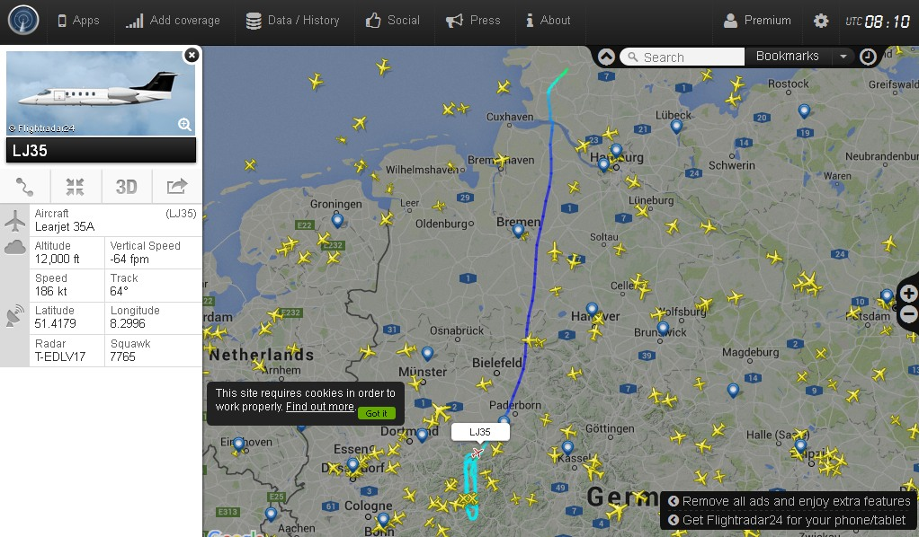 Der Learjet 35 liebt es im Sauerland seine Runden zu drehen. (screenshots: klaus beuermann)