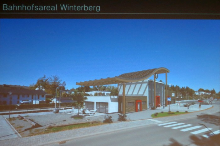 Photoshop-Modell des geplanten dreiteiligen Bahnhofsgebäudes.