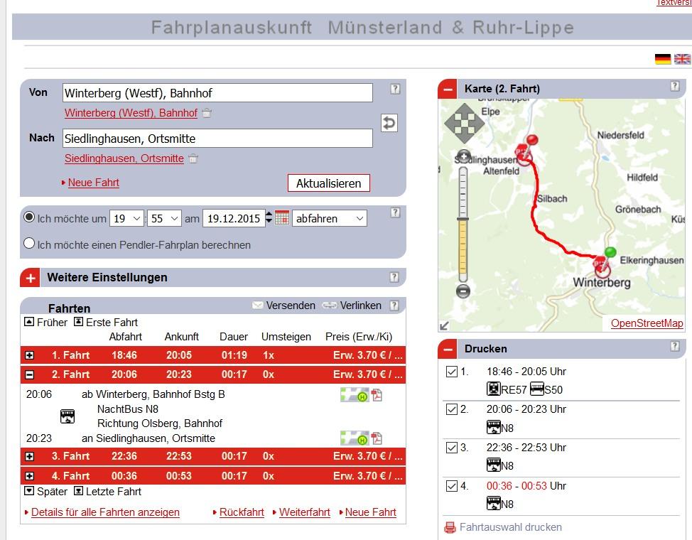 Das war der Bus, der uns gestern den NachtBus-Aufpreis von 1,20 Euro beschert hat. Zur Fahrplanauskunft auf das Bild klicken. (screenshot)