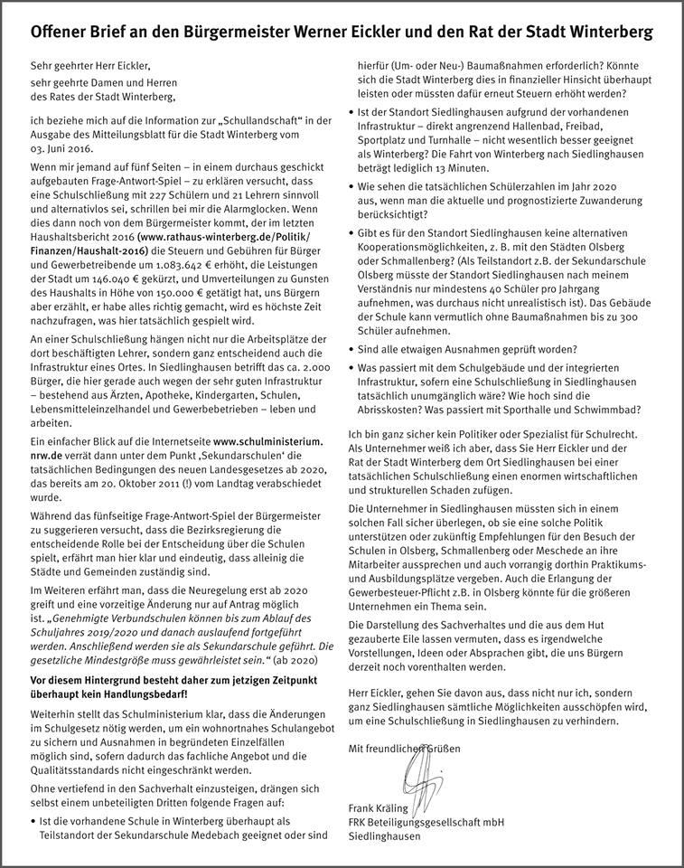Der offene Brief von Frank Kräling trifft den Nerv vieler Siedlinghäuser Bürgerinnen und Bürger. (Quelle: facebook [1])