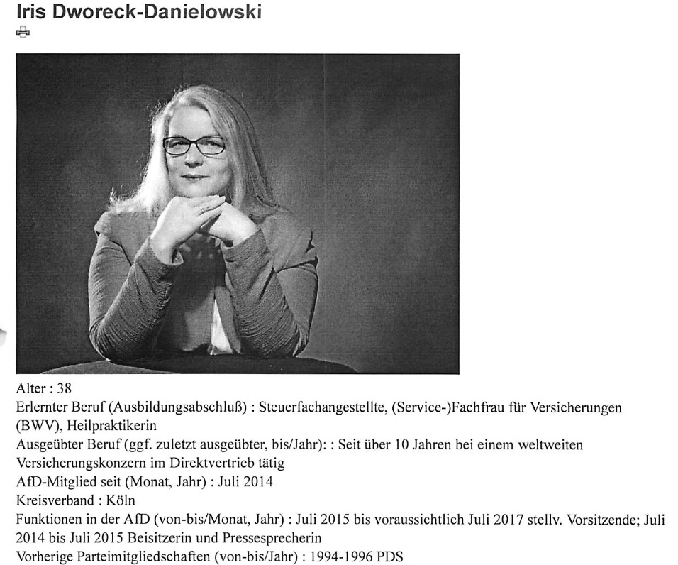 Iris Danielowski. Dokument der Kandidatenaufstellung. (screenshot: correctiv.ruhr)