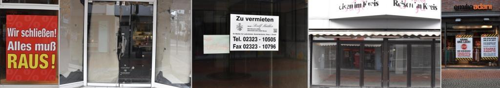 Fünf auf einen Streich gefunden: Geschäftsaufgaben in der Neustraße. (collage: zoom)
