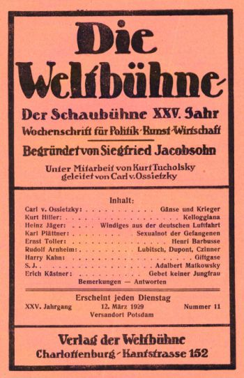 Die Weltbühne - Titelblatt 12.03.1929